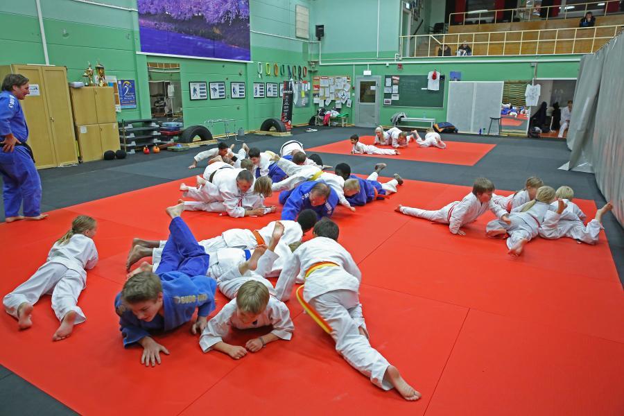 Att krypa över varandra, var ett av inslagen under kvällen hos Vilhelmina judoklubb.