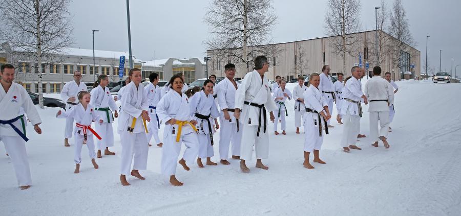 Det blev även lite träning utomhus under seminariet i Skellefteå 9-10/2, med instruktörerna Kent Rantzow, 6 dan, och Sandy Rantzow, 4 dan.