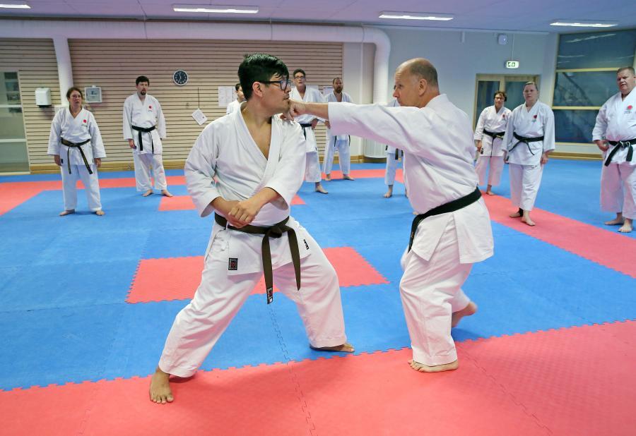 JKA Swedens klubbar i norra Sverige samlades för träning på Budokan i Skellefteå, med Edo Stajerer, 6 dan, och Robert Tegel, 5 dan.